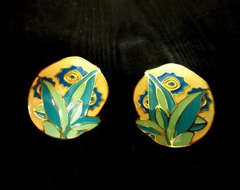 Round Enamel Earrings