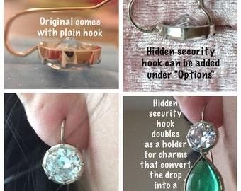 Hidden hook / back clasp for button earrings