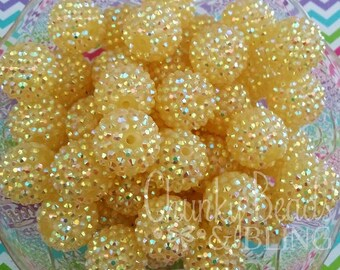 10pc. 20mm Lt. Yellow AB Rhinestone Beads