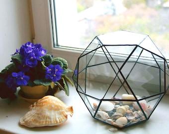 Geometric glass terrarium,Stained Glass Vase, Planter for indoor gardening Glass Terrarium, Decoration,Airplant Terrarium,Planter,Glass Box