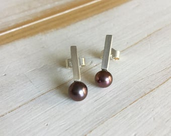 Black Pearl Studs, Black Pearl and Silver Studs, Black Pearl Earrings, Sterling Silver and Black Pearl Studs, Freshwater Pearl Earrings