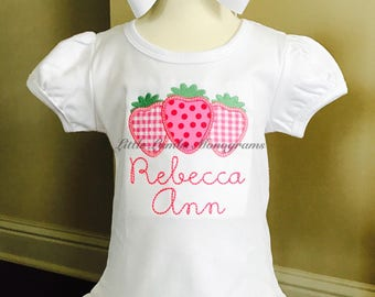 Girls Strawberry Appliqued Shirt with Name