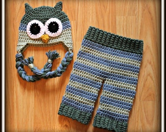 Crocheted Baby Boy Owl Hat and Pants Set, Baby Owl Photo Prop, 0-3 Months