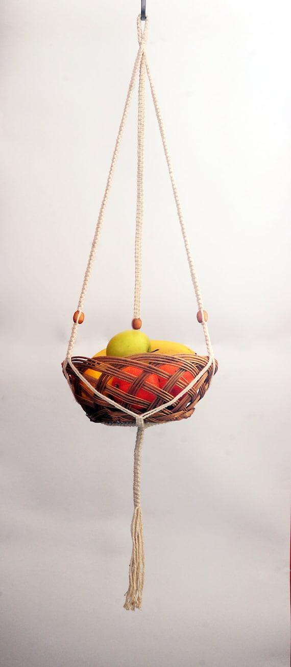 Handmade Cotton Baskets : Handmade white cotton flat knotted macrame basket bowl hanger