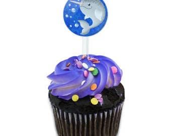 Gnarly Narwhal Cake Cupcake Toppers Picks Set