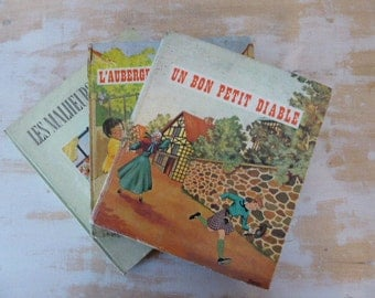 Vintage French Storybooks, 3 Children's Books, Nursery, Scrapbooking, Craft Projects