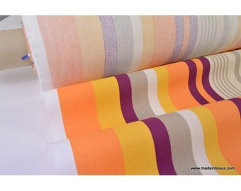 A half mat cotton stripes orange multi-color