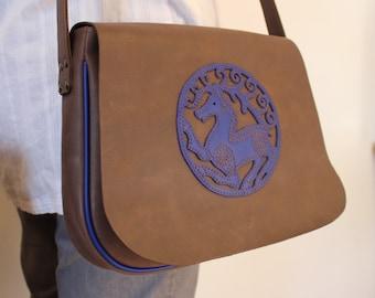 Brown leather shoulder bag with blue deer; Celtic enterlace bag; medieval bag; LARP's bag