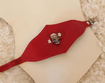 skull skull red leather bracelet