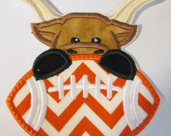 Football Longhorn Boy and Girl Fabric Embroidered Applique Patch  Ships in 5 Business Days