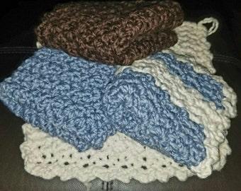 Set of 4 thick organic cotton washcloths