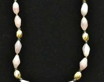 A Lovely Rose Quartz and Rock Crystal Necklace.
