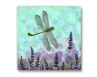 Large Giclée - Canvas Print - Acrylic Painting - Dragonfly - Lavender - Summer - Bloom - Contemporary Art - by Jasmine Star