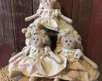 Primitive Little Mother,Daughter, Friend Rag Doll Angels