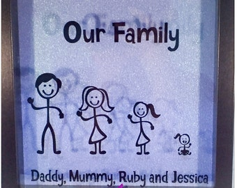 Personal stick family vinyl frame, family characters, family names, glitter background
