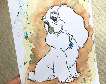 Disney's Lady from Lady and the Tramp Watercolour Print in A5 & A4.