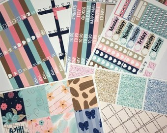 Oh Happy Day ECLP Weekly Kit Mambi Happy Planner Stickers Check Lists Daily Boxes Washi Strips