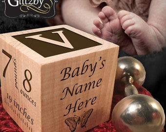 Personalized Wooden Baby Block, Personalized Shower Gift, Personalized Birthday Gift, Baby Block