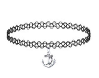 Anchor Stretch  Choker,Anchor  Necklace ,Nautical Jewelry
