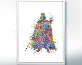 Star Wars Darth Vader The Force Awakens Watercolor Art Silhouette Poster Print - Wall Decor - Watercolor Painting - Home Decor - Kids Decor