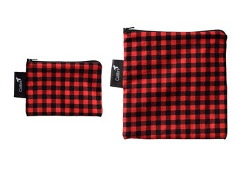 Ready to ship - Reusable Snack Bag Set - Red Plaid