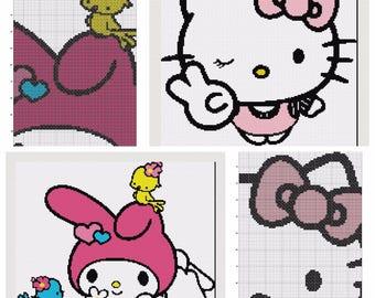 2 hello kitty and my melody cross stitch patterns (2 patterns)