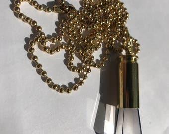Small smoke grey crystal bullet necklace