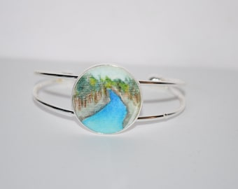 Around the River Bend - Landscape painting - Wearable painting - Handmade Cuff bracelet - Nature jewelry - Nature bracelet - River bracelet