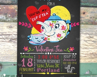 Valentine or Birthday Tea Party Vintage Teapot Chalkboard Invitation Printable Invitation Print at Home