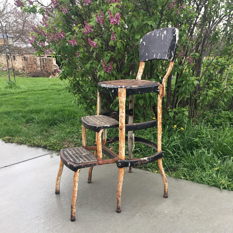 Cosco Folding Step Stool Chair Vintage Rusty Metal Chair