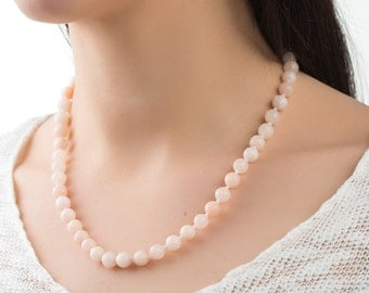 Peach quartz necklace women necklace beaded necklace peach necklace stone jewelry gift for girlfriend necklace gemstone necklace gift ideas