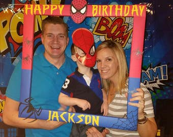 Custom Photo Frame - Spider-Man - PhotoBooth - Party - Birthday Superhero Decoration