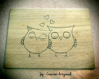 READY TO SHIP Decorative Cutting Board,WoodBurned Board owls in love, Pyrography, custom board, wedding gift, pesonalizable board