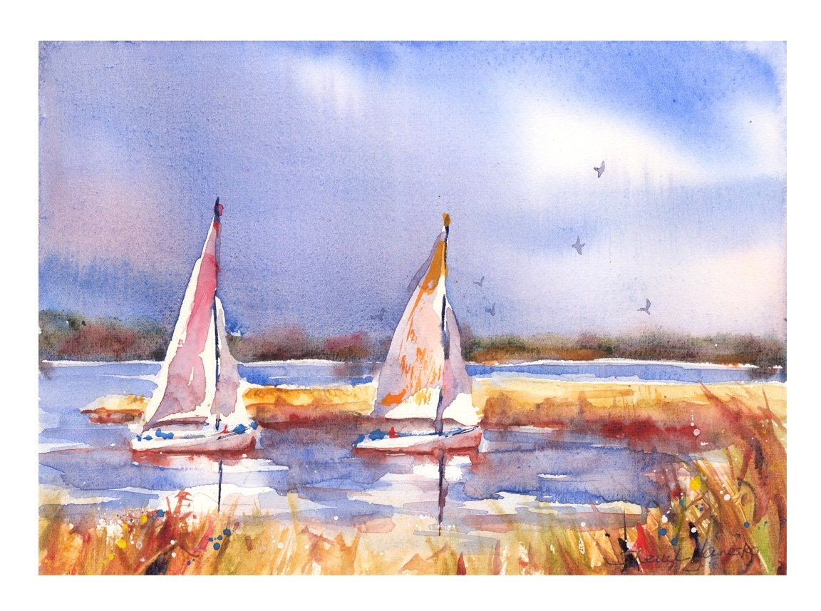 sailboats watercolor sailboat giclee print colorful