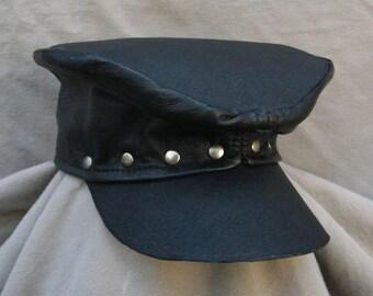 Old-Timey Cadet Cap Leather #49 Black