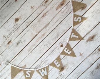 Wedding Sweets Bunting  Wedding Sign Burlap Bunting Hessian Bunting