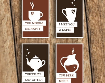 Funny Coffee-themed Valentine's Day Card 4-Pack - Download and Print - Great for coffee lovers, cafe owners, baristas or tea drinkers!