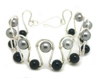 Black agate and silver coloured shell pearl wire cuff bracelet