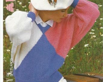 Vintage Ladies V Neck Dolman Knitting Pattern.
