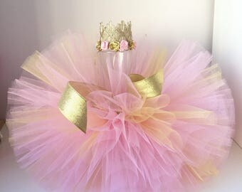 Pink - Gold tutu and Crowne headband set, Pink Gold tutu.