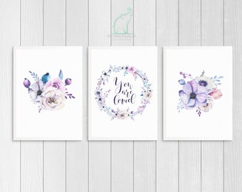 Violet Nursery Prints, Printable, You are loved, Violet and Grey, Lilac room, Nursery decor, Violet bedroom, Wild Flowers, Quote print
