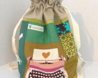 quilt as you go drawstring project bag