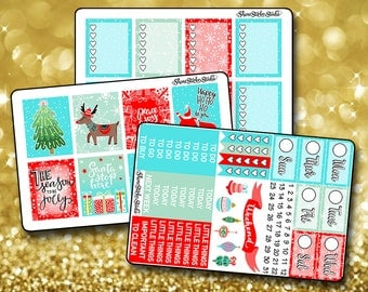 Wintry Blue Christmas Weekly Sticker Kit - Vertical Planner Stickers Erin Condren Life Planner  ECLP
