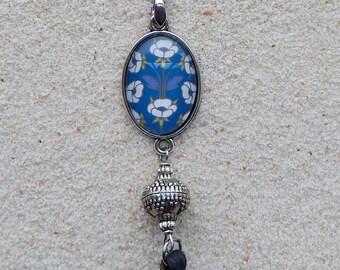 "Necklace ""Juliana"" -  Blue Retro Floral"