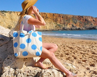 Oversize Canvas Beach Bag Tote Seaside Blue Dotty print with Double Handles - Summer Travel Holiday