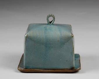 Square corduroy pattern ceramic butter dish//cube shaped lid//shiny turquoise glaze//dark red stoneware