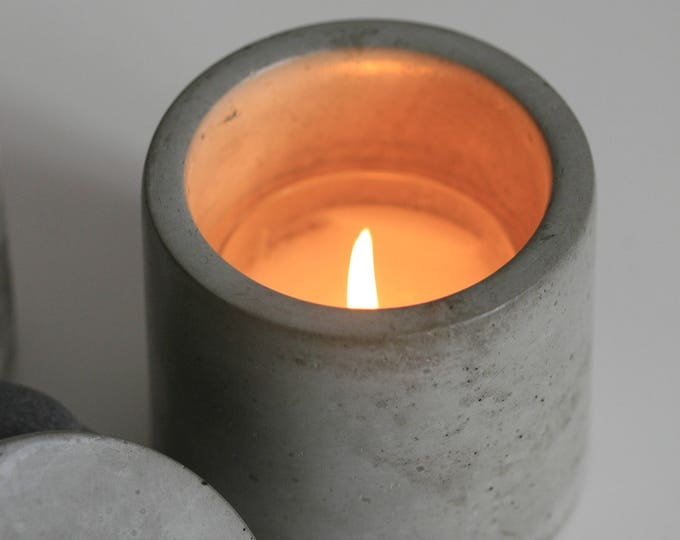 Round Concrete Decorative Container | Planter | Candleholder | Display | Urban | Industrial
