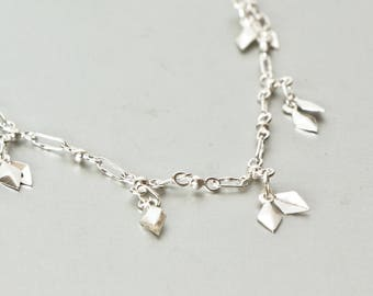 Silver Charm Anklet, Silver Bell, Gypsy Style, Minimalist Silver Anklet, Delicate Jewelry, Simple Anklet, Beach Wear Bohemian, (AS76)