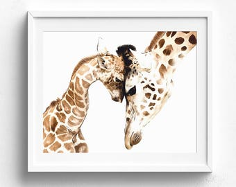 Giraffe print, giraffe wall art, giraffe nursery, giraffe poster, giraffe painting, giraffe watercolor, giraffe artwork, giraffe wall decor
