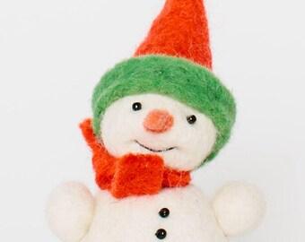Little Carrot Nose Snowman, Handmade Carrot nose snowman, christmas carrot nose snowman, fair trade carrot nose snowman ornament, snowman